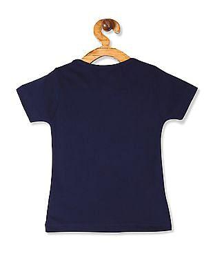 Cherokee Blue Girls Round Neck Printed T-Shirt