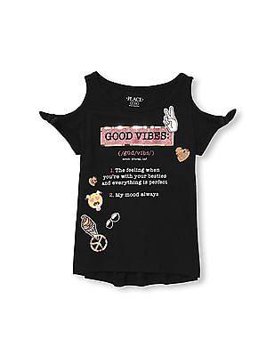The Children's Place Girls Short Tie Sleeve Cold-Shoulder Embellished Graphic Top