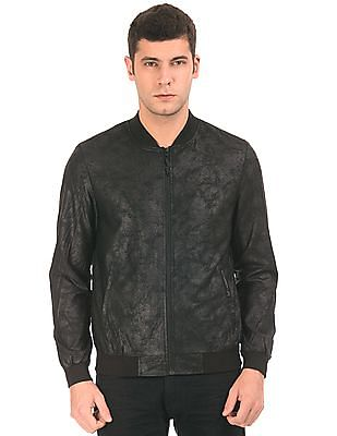 Ed Hardy Distressed Coated Bomber Jacket