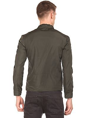 Flying Machine Solid Panelled Biker Jacket