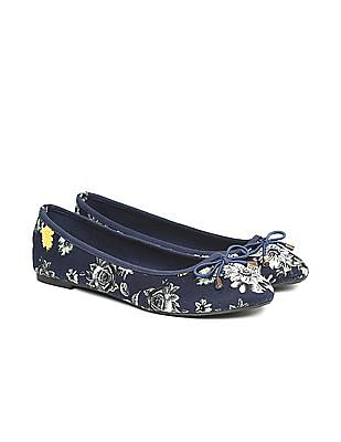 SUGR Round Toe Floral Print Ballerinas