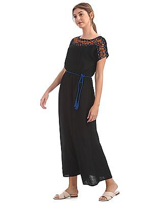Bronz Embroidered Round Neck Maxi Dress