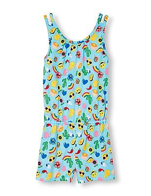 The Children's Place Girls Sleeveless Emoji Print Romper