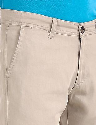 Ruggers Beige Modern Slim Fit Patterned Trousers