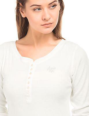 Aeropostale Long Sleeve Ribbed Henley T-Shirt