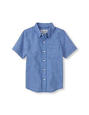 The Children's Place Boys Short Sleeve Button Down Shirt