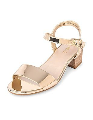 The Children's Place Girls Gold Mini Heel Sandals