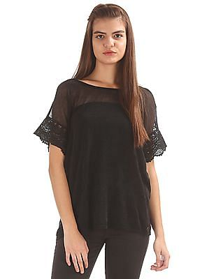 U.S. Polo Assn. Women Lace Sleeve Boxy Top