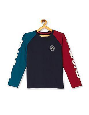 U.S. Polo Assn. Kids Blue Boys Colour Blocked Raglan Sleeve T-Shirt