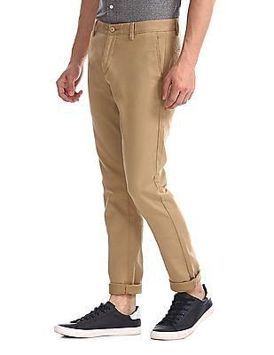 U.S. Polo Assn. Beige Austin Trim Regular Fit Solid Trousers