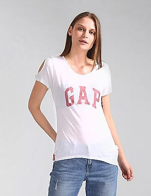 GAP Cutout Sleeve Logo Print T-Shirt