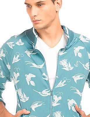 Bayisland Bird Print Raglan Sleeve Sweatshirt
