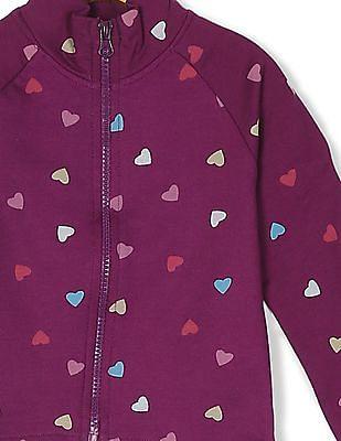 Cherokee Girls Heart Print Zip Up Sweatshirt