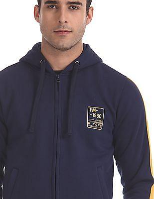 Flying Machine Blue Contrast Taping Hooded Sweatshirt