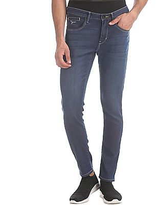 Flying Machine Blue Michael Slim Tapered Fit Whiskered Jeans