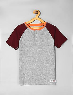 GAP Grey Boys Short Sleeve Henley T-Shirt