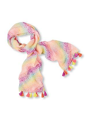 The Children's Place Girls Rainbow Shimmer Leopard Print Scarf