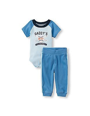 The Children's Place Baby Boys Short Sleeve 'Daddy's MVP In Training' Baseball And Bats Raglan Bodysuit And Pants Set