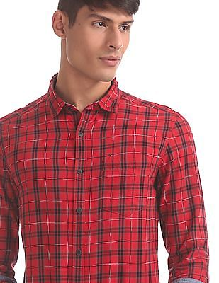 Flying Machine Red Spread Collar Check Shirt