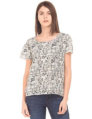Flying Machine Women Comic Print Raw Edge T-Shirt
