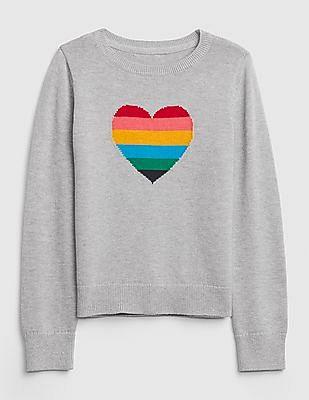 GAP Girls Rainbow Heart Crewneck Sweater