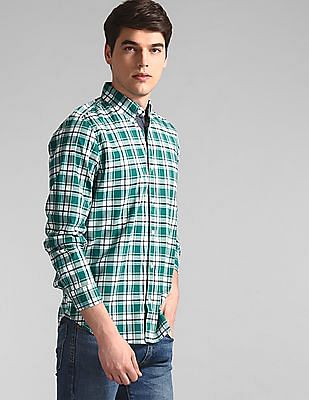 GAP Green Check Cotton Stretch Shirt