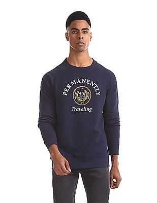 Aeropostale Blue Raglan Sleeve Printed Sweatshirt