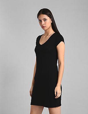 GAP Black V-Neck T-Shirt Dress
