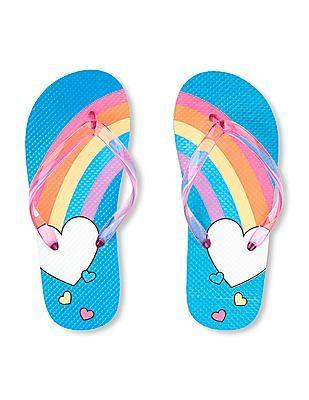 The Children's Place Girls Rainbow Heart Flip Flops