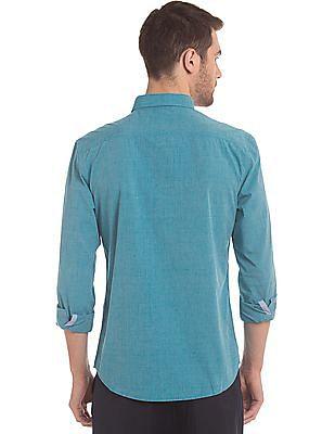 True Blue Slim Fit Cotton Shirt