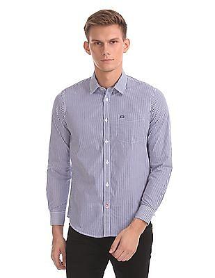 Arrow Sports Slim Fit Vertical Stripe Shirt