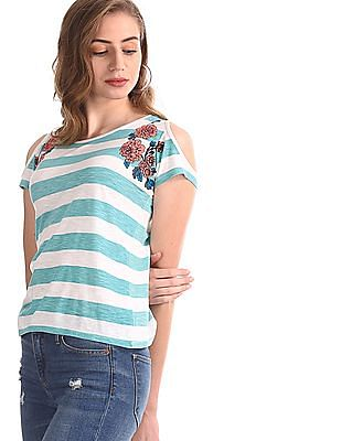 Flying Machine Women Green Cold Shoulder Stipe T-Shirt