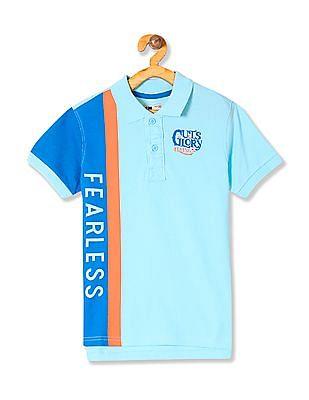 FM Boys Boys Colour Blocked Pique Polo Shirt