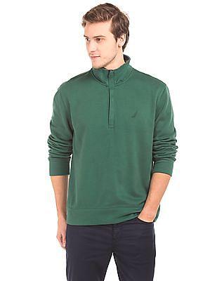 Nautica High Neck Zipper Placket Sweatshirt