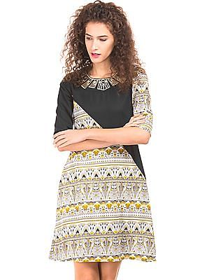 Bronz Embroidered Neck Printed Dress