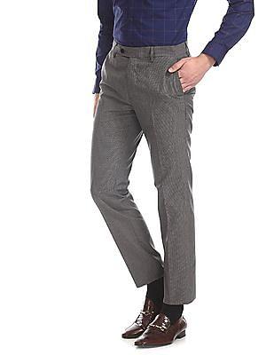 Arrow Grey Slim Fit Patterned Trousers