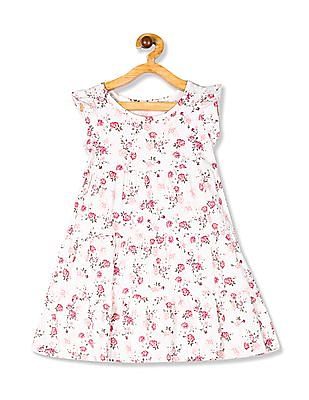 The Children's Place Toddler Girl Short Ruffle Sleeve Printed Tiered Knit Dress