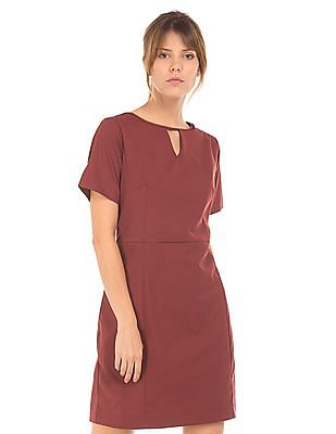 Arrow Woman Cutout Neck Panelled Shift Dress