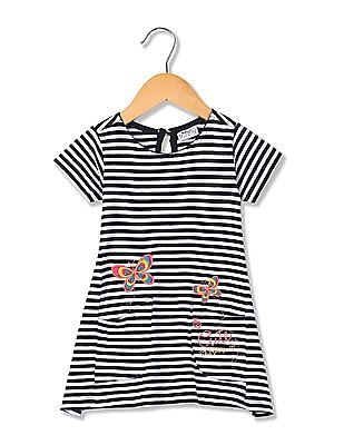 Donuts Girls Striped Embroidered T-Shirt Dress