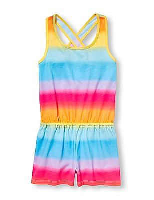 The Children's Place Girls Sleeveless Rainbow Ombre Cross Back Knit Romper