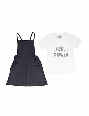 Cherokee Girls Dungaree Skirt And T-Shirt Set