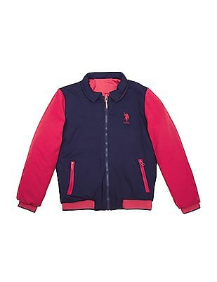 U.S. Polo Assn. Kids Girls Reversible Padded Jacket