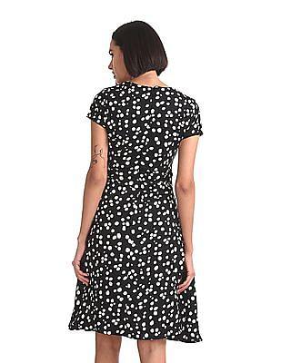 Elle Studio Dot Print Fit And Flare Dress