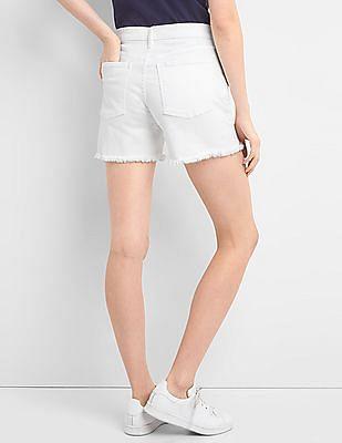 GAP Women White Mid Rise Denim Shorts With Frayed Hem