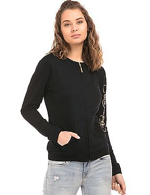 EdHardy Women Embellished Back Zip Up Sweatshirt