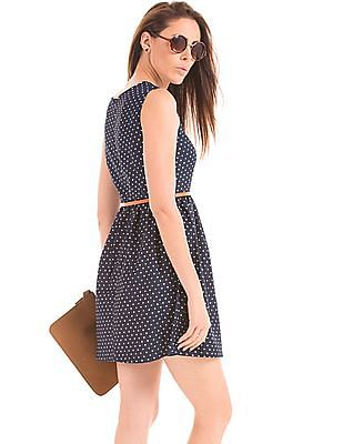 Elle Polka Print Belted Fit And Flare Dress