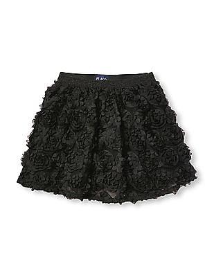 The Children's Place Girls Black 3D Rose Skirt
