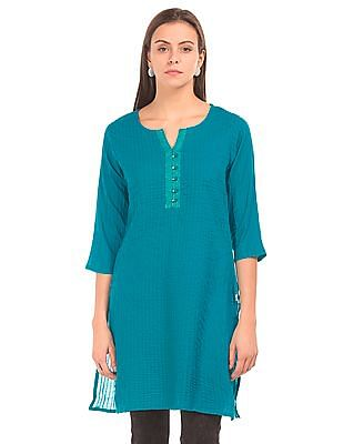 Karigari Mock Placket Pintuck Kurta