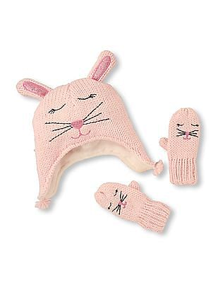 The Children's Place Baby Bunny Patterned Knit Set