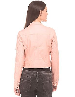 U.S. Polo Assn. Women Textured Faux Leather Cropped Jacket